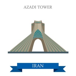 Azadi Tower in Tehran, Iran. Flat cartoon style historic sight showplace attraction web site vector illustration. World countries cities vacation travel sightseeing Asia collection.