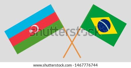 Azerbaijan and Brazil. Crossed Azerbaijani and Brazilian flags