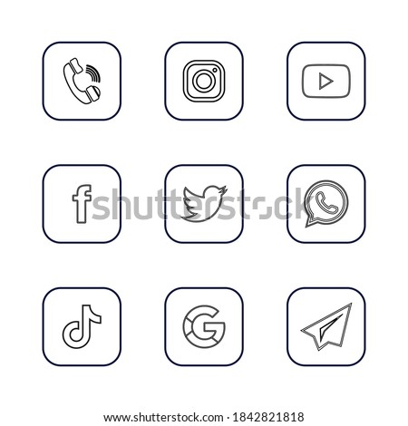 Azerbaijan, Baku/ October 28 2020: Social media icon set, 9 social media logos stroke transparent background