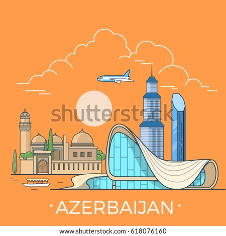 Azerbaijan country design template. Linear Flat famous historic sight; cartoon style web site vector illustration. World travel and showplace in Asia, Asian vacation collection.