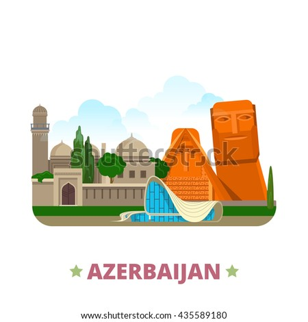 Azerbaijan country Flat cartoon style historic sight showplace web vector illustration. World vacation travel Asia Asian collection. We are our Mountains Palace of Shirvanshahs Heydar Aliyev Center.