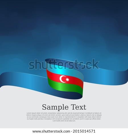 Azerbaijan flag background. Azerbaijani  flag wavy ribbon on blue white background. National patriotic poster. Vector tricolor brochure design. State banner of azerbaijan, cover, flyer