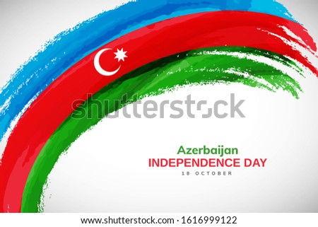 Azerbaijan flag made in watercolor brush stroke background. Independence day of Azerbaijan. Creative Azerbaijan national country flag icon. Abstract watercolor painted grunge brush flag background.