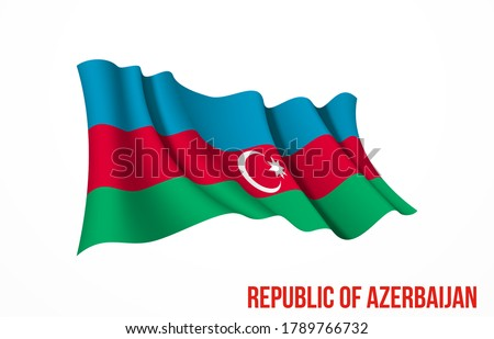 Azerbaijan flag state symbol isolated on background national banner. Greeting card National Independence Day of the Republic of Azerbaijan. Illustration banner with realistic state flag.