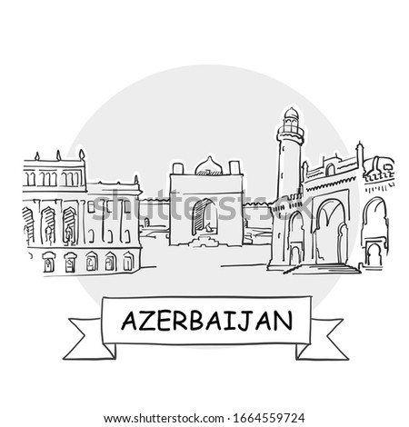 Azerbaijan Hand-Drawn Urban Vector Sign. Black Line Art Illustration with Ribbon and Title.