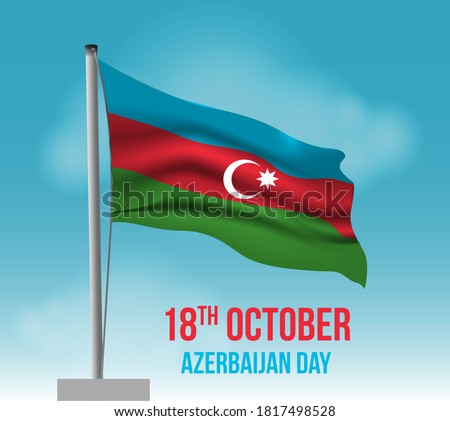 Azerbaijan independence day or republic day vector illustration. Azerbaijan flag on pole. Azerbaijan waving flag high on sky with sun in background. lights on flag pole. Republic day template.