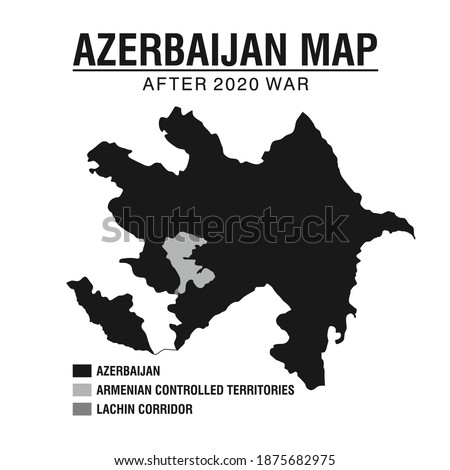 Azerbaijan Map after 2020 War. With Armenian Controlled territories (Artsakh). Vector Illustration.