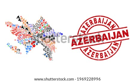 Azerbaijan map collage and dirty Azerbaijan red round stamp print. Azerbaijan stamp uses vector lines and arcs. Azerbaijan map collage contains gears, homes, screwdrivers, bugs, hands,