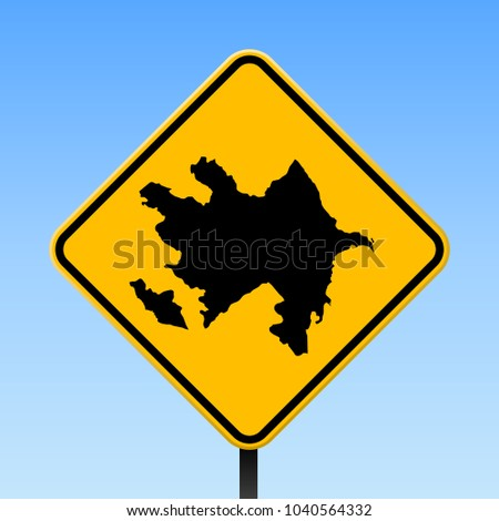 Azerbaijan map road sign. Square poster with country outline on yellow rhomb signboard. Vector illustration.
