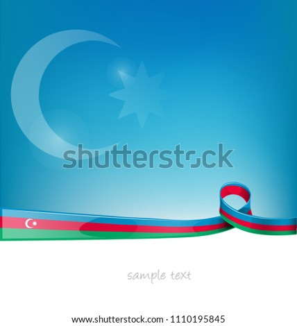 azerbaijan ribbon flag on blue sky background
