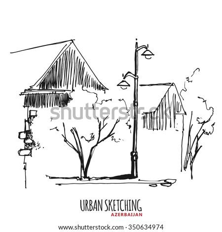 azerbaijan urban sketch