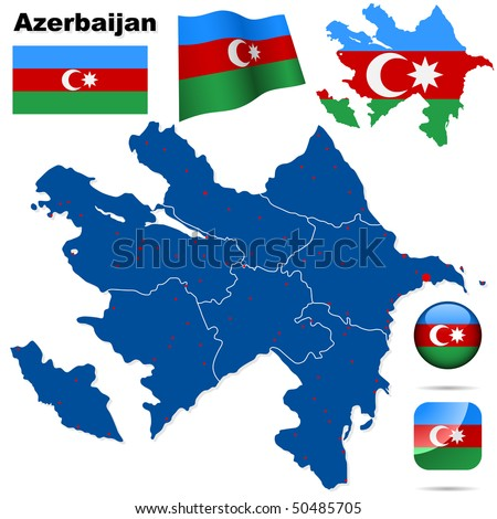 Azerbaijan vector set. Detailed country shape with region borders, flags and icons isolated on white background