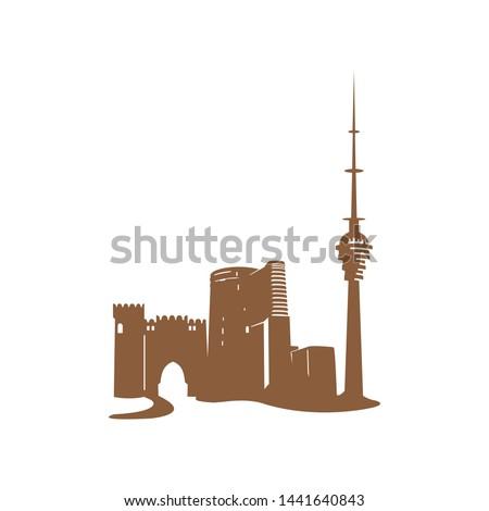 Azerbaijan vintage vector illustration, hand drawn buildings of Baku on white background