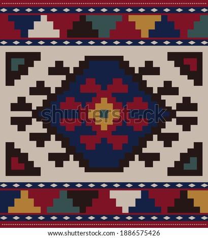 Azerbaijani carpet vector reproduction. Caucasian carpet pattern design. Oriental carpet ornament. Conceptual vector illustration of Azeri national heritage