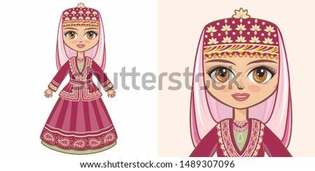 Azerbaijani national costume. Girl in ethnic dress of Azerbaijan. Azerbaijan, shiite muslims. National dress muslims azeri  islam national costume Azerbaijani Baku. Azerbaijani national dress