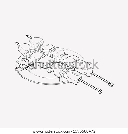 Azeri shish kebab icon line element. Vector illustration of azeri shish kebab icon line isolated on clean background for your web mobile app logo design.