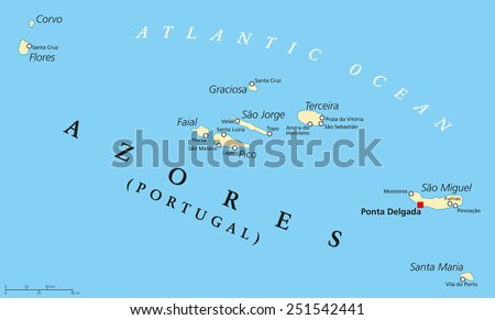 azores political map with