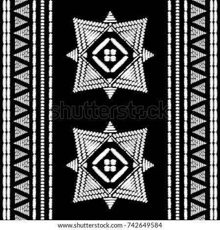 aztec embroidery pattern design