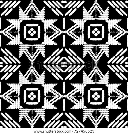 Aztec embroidery pattern design seamless vector. Abstract geometric border texture with stitch boho style. Tribal print with indian, african, native american, peru, chile, mexican ornament motif.