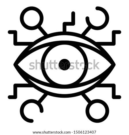 Aztec eye alchemy icon. Outline aztec eye alchemy vector icon for web design isolated on white background