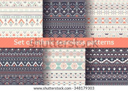 Aztec geometric backgrounds. Set of six ethnic seamless patterns. Stylish navajo design. Modern handmade abstract wallpaper. Vector illustration.