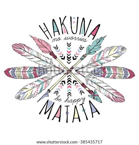 aztec lettering print  hakuna