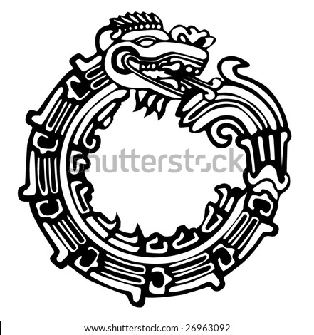 Aztec Maya dragon, vector, great for tattoo. Can be fully personalized and colored.