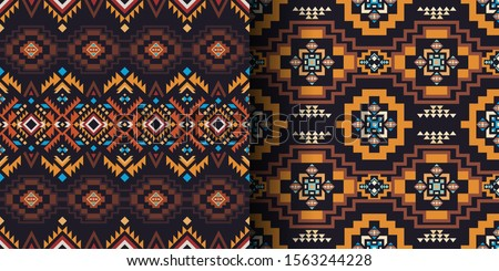 Aztec, Navajo, African geometric seamless patterns. Native American Southwest prints. Ethnic design wallpaper, fabric, cover, textile, rug, blanket. Сток-фото ©