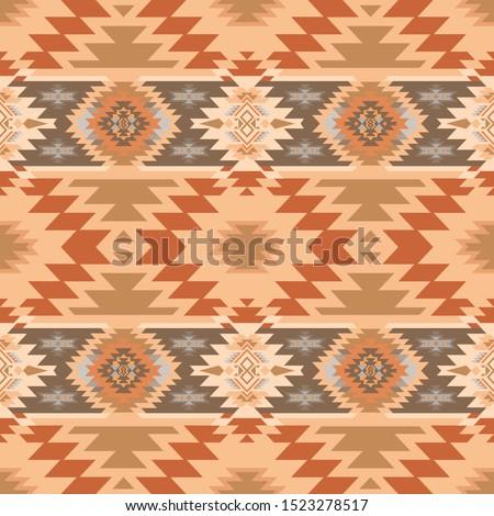 Aztec, Navajo geometric seamless pattern. Native American Southwest print. Ethnic design wallpaper, fabric, cover, textile, rug, blanket. Stockfoto ©