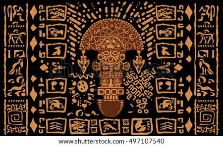 Aztec Ornamental Tribal Elements And Symbols Ez Canvas