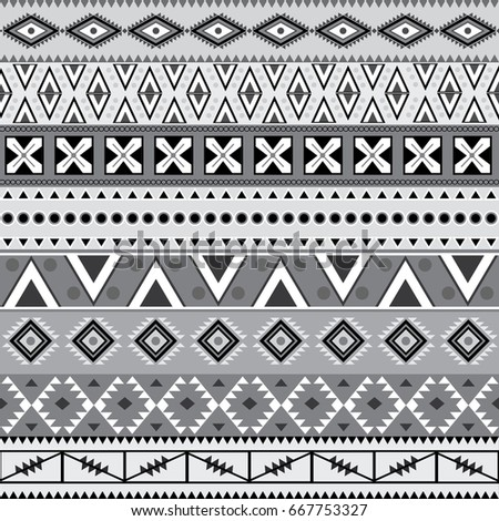 Aztec Seamless Pattern Black and White. Vector.