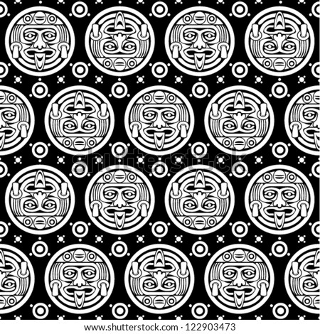 Aztec Seamless Pattern in Black & White