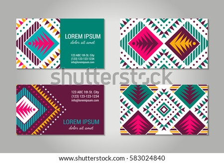 Aztec style colorful business card set. American indian ornamental pattern design. Front and back pages. Ornate blank with ethnic motifs. Tribal decorative template. EPS 10 vector concept.