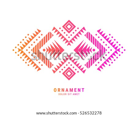 Aztec style colorful ornament. American indian ornamental pattern design. Tribal decorative template. EPS 10 vector background. Isolated.