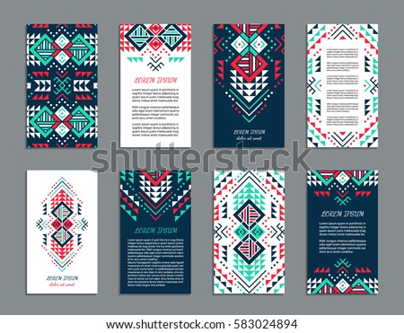 Aztec style colorful vertical flyer set. American indian ornate pattern design. Front and back pages. Ornamental collection with ethnic motifs. Tribal decorative template. EPS 10 vector concept.