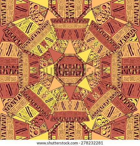 Aztec style tile pattern design. Vector illustration.