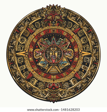 Aztec sun stone. Color tattoo and t-shirt design. Mayan calendar.  Ancient hieroglyph signs and symbols. Mexican mesoamerican monolith. Totem