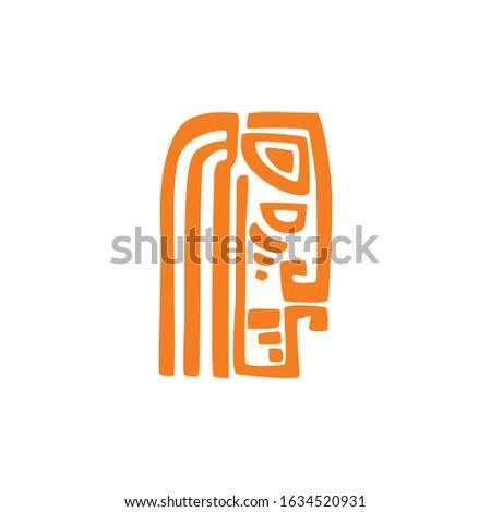 aztec tribal mask profile view