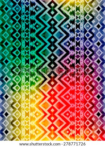 Aztec tribal mexican seamless pattern. Hipster boho chic watercolor background with gradient mesh  for phone case, t-shirt, textile