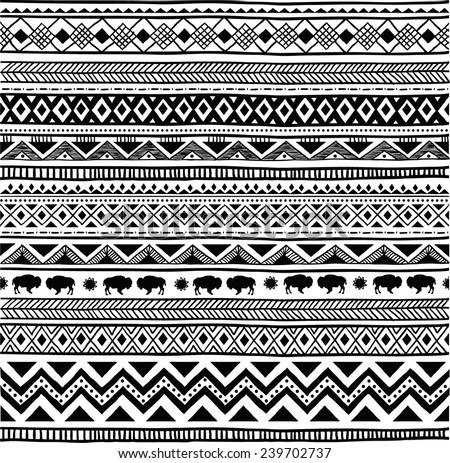Free Aztec Black And White Vector Download Free Vector Art Stock Magnificent Aztec Tribal Pattern