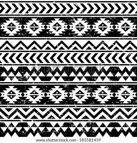 Aztec tribal seamless grunge white pattern on black background