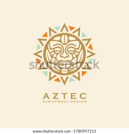 Aztec tribal sun symbol with human face. Vector logo or tattoo design with Mayan civilization sign. Vintage ornament.