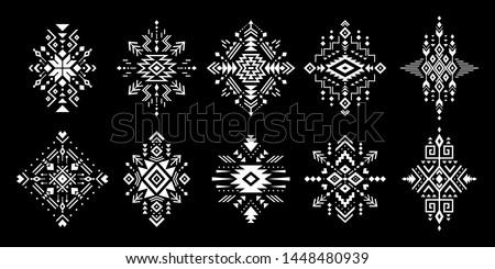 Aztec vector elements. Set of ethnic ornaments. Tribal design, geometric symbols for border, frame, tattoo, logo, cards, decorative paper. Navajo motifs, isolated on black background.