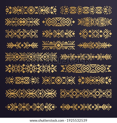 Aztec vector elements. Set of ethnic ornaments. Tribal design, geometric symbols for border, frame, tattoo, logo, cards, decorative works. Navajo motifs, isolated on black background. Vector Foto stock ©