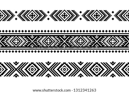 Aztec vector ornament. Set of native american motifs, seamless stripes. Can be use for linens design, accessories for interior decor in boho style, fashionable tribe cloth, rugs, case prints, etc