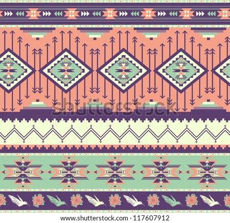 Aztecs seamless pattern on pink color