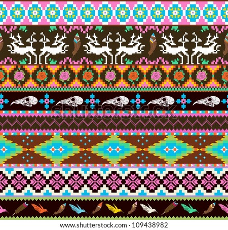 Aztecs seamless pattern with skull, leaf, feather, flowers and dear