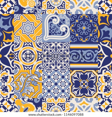 Azulejos tiles checked abstract wallpaper, vector seamless pattern for fabric texture paper print