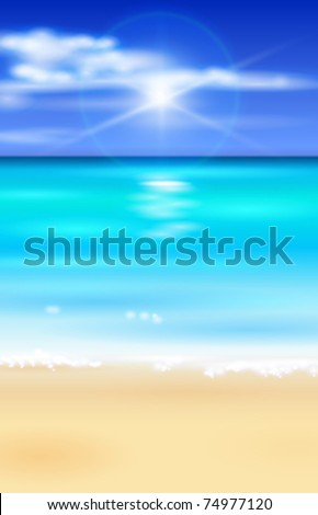 azure ocean, blue sky with white fluffy clouds, white sand deserted tropical beach - vector illustration for a tourist theme