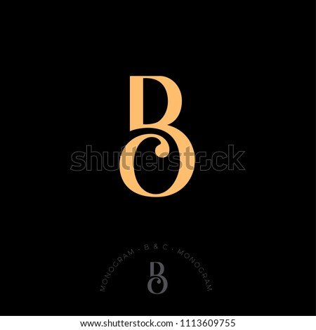 B and C combined letters, the initial of beautiful letters. Classic style. Monochrome option. Foto stock ©
